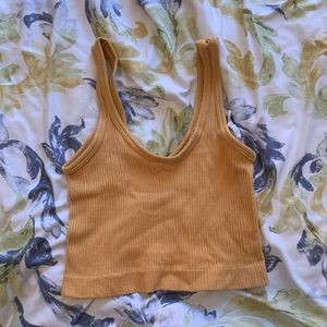 Urban outfitters ribbed gold crop top
